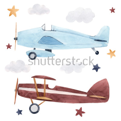 Sticker Watercolor set of isolated children's illustrations, airplanes, starry sky and clouds. Children's birthday