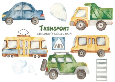Sticker Watercolor set with a cute cartoon kids transport for a boy. Cars, bus, tram, truck for baby shower, cards, invitations, prints, logos.