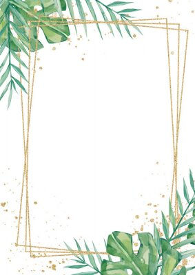Sticker Watercolor tropical floral wedding cards, frame, template. Summer leaves and branches for invitation greeting cards, postcards
