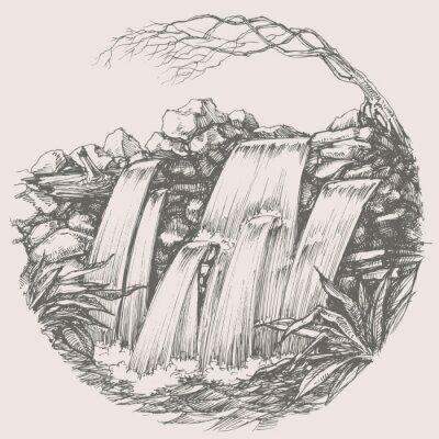 Sticker Waterfall round drawing