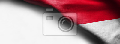 Sticker Waving flag of Indonesia, Asia on white background - right top corner flag
