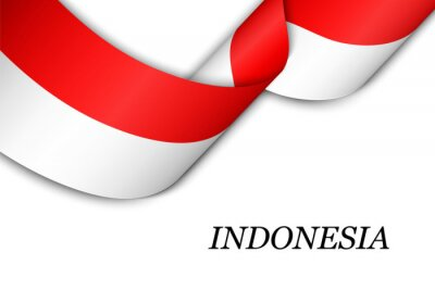Sticker Waving ribbon or banner with flag of Indonesia