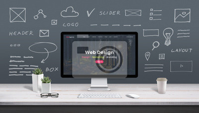 Sticker Web design concept with computer display, web theme and drawings of website, app parts. Modern design web page on computer display. Office, studio work desk.