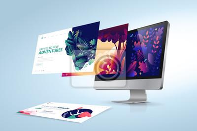 Sticker Web design template. Vector illustration concept of website design and development, app development, seo, business presentation, marketing.