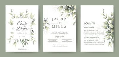 Sticker wedding invitation card set template design with watercolor greenery leaf and branch