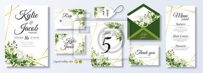Sticker Wedding Invitation, menu, rsvp, label, table number, envelope. Floral design green watercolor fern leaves, foliage greenery decorative frame print. Vector elegant cute rustic greeting, invite postcard