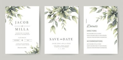 Sticker wedding invitation template card set with greenery watercolor leave and branch