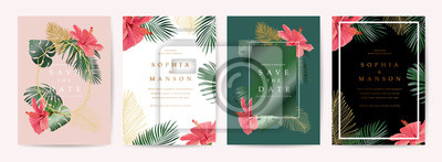 Sticker Wedding invitation,Thank You Card, rsvp, posters design collection with marble texture background,Geometric Shape,Gold and Tropical Leaves design - Vector