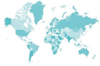 Sticker Welt Karte blau mit Länder Grenzen Vektor Grafik