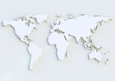 Sticker Weltkarte 3D - carte du monde en 3D
