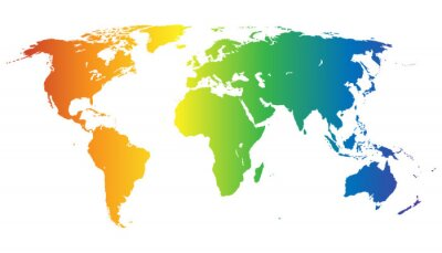 Sticker Weltkarte dans Regenbogenfarben - Vektor