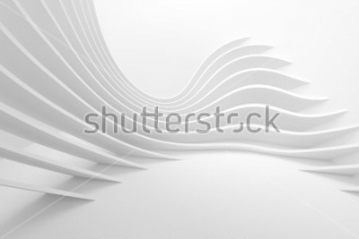 Sticker White Architecture Circular Background. Modern Building Design. Abstract Curved Shapes. 3d Rendering