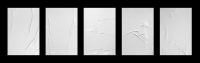 Sticker white crumpled and creased glued paper poster set isolated on black background