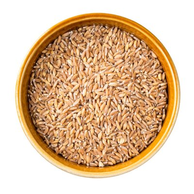 Sticker whole Emmer farro hulled wheat in bowl cutout