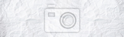 Sticker wide panorama white and gray crumpled paper texture background. crush paper so that it becomes creased and wrinkled.