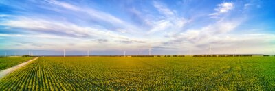 Sticker Wind power plant in the green field against cloudy sky panoramic