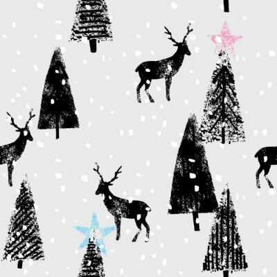 Sticker winter forest hand drawn trendy pattern
