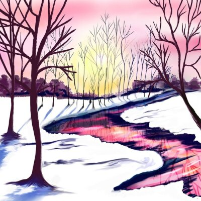 Sticker Winter landscape with trees in white and pink colors. Pink sunset by the river. The sun shines through the trees. Christmas party. Postcard, poster