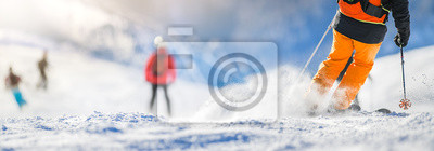 Sticker Winter ski sport activities in sunny day. Skier detail panorama or banner. Copy space concept.