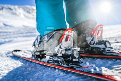 Sticker Winter skis and detailed view of the ski bindings concept in sunny day.