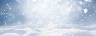 Sticker Winter snow background with snowdrifts, with beautiful light and snow flakes on the blue sky, beautiful bokeh circles, banner format, copy space.