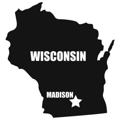 Wisconsin map in black on a white background