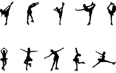 Sticker Woman Figure skating silhouette vector