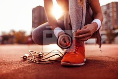 Sticker Woman preparing for jogging