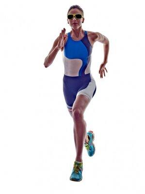 Sticker woman triathlon ironman runner running athlete