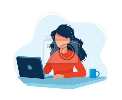 Sticker Woman working with computer. Concept illustration, working process, management, freelance, office, work from home, business meeting via internet, communication. Bright colorful vector illustration.