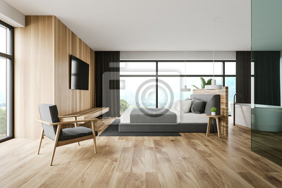 Sticker Wooden master bedroom and bathroom interior