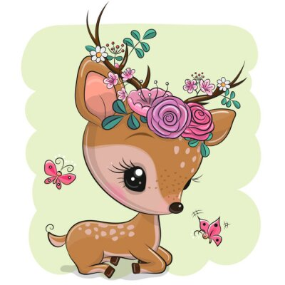 Sticker Woodland Deer with flowers and butterflies on a green background