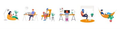 Sticker Working at home, coworking space, concept illustration. Young people, man and woman freelancers working on laptops and computers at home. People at home in quarantine. Vector flat style illustration