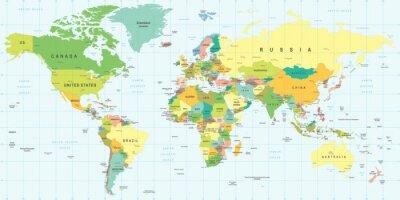 Sticker World Map - highly detailed vector illustration.