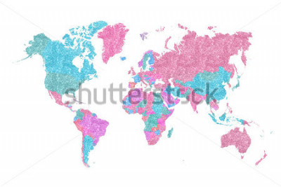 Sticker World Map in pink and blue glitter and sparkles, with plenty of space to insert your own quote under the image.