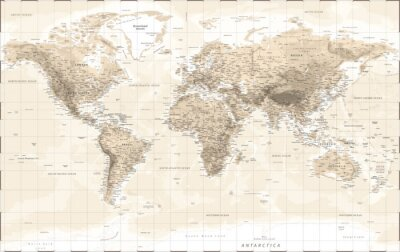 Sticker World Map Physical - Vintage Retro Old Style - Vector Detailed Illustration
