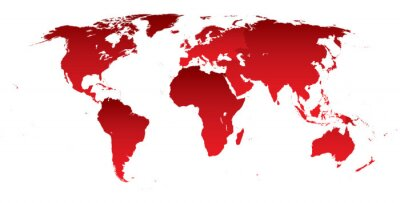 Sticker World map red continents