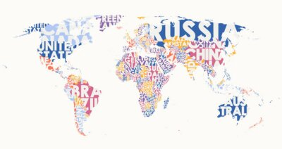 Sticker World map text composition, name of countries in color territories, Typographic vector illustration