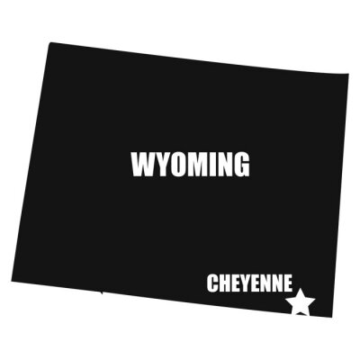 Wyoming map in black on a white background