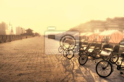 Xi'an / Chine - mur de la ville avec des vélos
