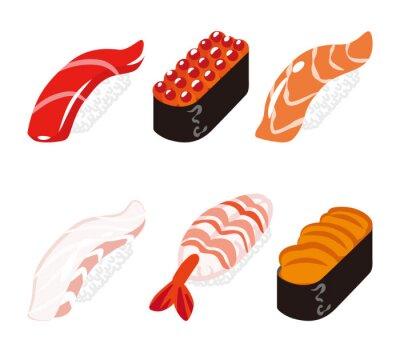 Sticker 寿司 六 白 ク ッ ク セ ッ ト - Ensemble de six objets sushi