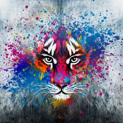 Sticker кляксы на стене.фантазия с тигром