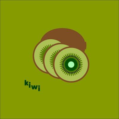 Sticker Разрезанный киви на зеленом фоне