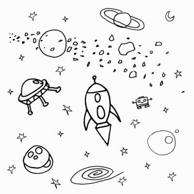 Sticker Космические объекты на белом фоне