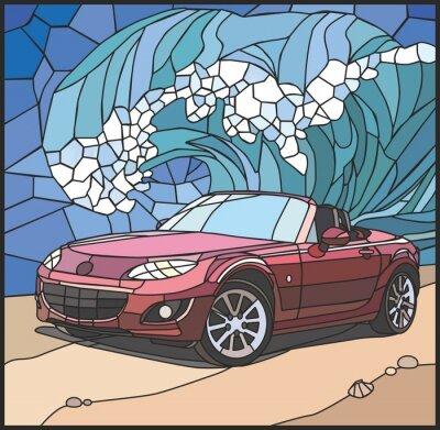 Sticker Автомобиль на берегу моря (Voiture sur la plage)
