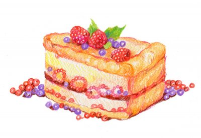 Sticker Торт с ягодами