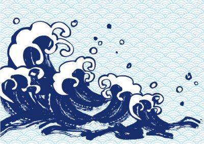 Sticker 海 毛筆 水色