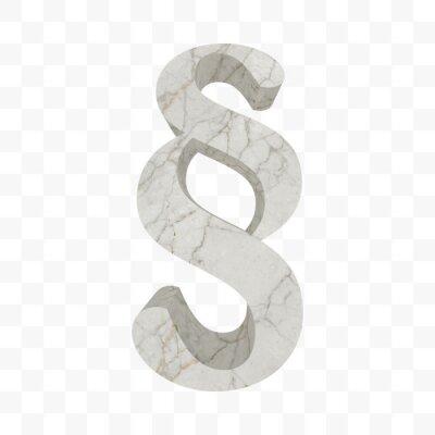 § Symbole de paragraphe en marbre. Signe de section texturé de roche blanche isolé sur fond transparent. Symbole de code légal, loi, légalité, justice, tribunal. Marque de section de vecteur.