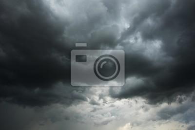 Sticker Ciel sombre et nuages noirs avant pluie, Nuage noir dramatique et orage