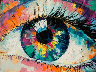 """Sticker """"Fluorite"""" - oil painting. Conceptual abstract picture of the eye. Oil painting in colorful colors. Conceptual abstract closeup of an oil painting and palette knife on canvas."""
